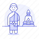1, asian, buddhism, buddhist, male, man, monk, outdoors, religion, stupa, temple icon