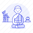 2, asian, balancing, bamboo, buddhism, buddhist, male, meditation, monk, religion, rock, worship icon