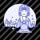 ball, crystal, divination, female, fortune, future, lit, magic, palmist, religion, teller icon