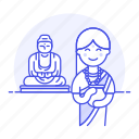 2, buddha, buddhism, buddhist, female, great, headwear, indian, religion, statue, turban, worship icon
