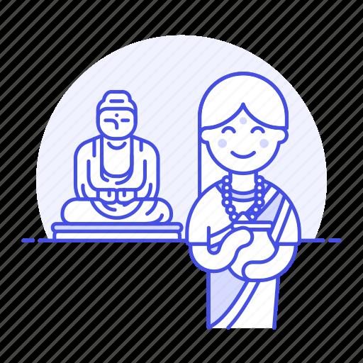 2, buddha, buddhism, buddhist, female, great, headwear, indian, religion, statue, turban, worship icon