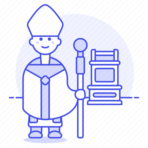 christianity, church, ferula, hat, high, male, mitre, papal, pope, prie, priest, religion, simplex, staff icon