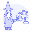 magic, magician, male, medieval, merlin, power, religion, sorcery, spell, staff, wizard icon
