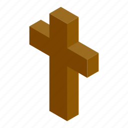 baptist, belief, cross, grave, isometric, object, religious icon