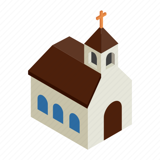 architecture, building, chapel, church, cute, isometric, white icon