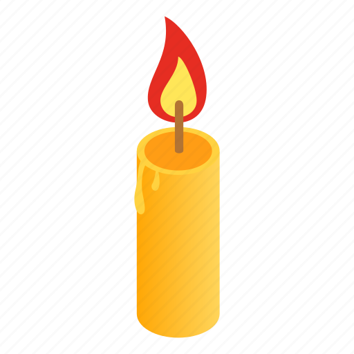 candle, fire, flame, heat, isometric, wax, wick icon
