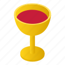 award decision, cup, gold, isometric, metal, reward, wine icon