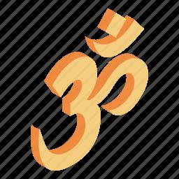 buddha, india, isometric 3d icon, ohm symbol, philosophy, religion, spirituality icon