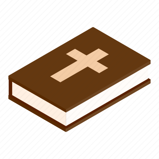 bible, book, cross, isometric, psalm, religion, scripture icon