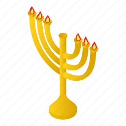 candlestick, chanukah, isometric, jewish, menora, menorah, religion icon