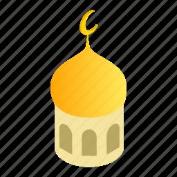 crescent, islam, islamic, isometric, minaret, old, spiritual icon