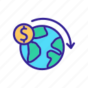 finance, international, money, outline, planet, remittance, transfer icon