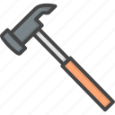 filled, hammer, outline, renovation, service icon