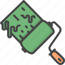 filled, green, outline, paint, renovation, roll, service icon