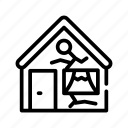 broken, damaged, equipment, home, house, linear, painting icon