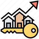 estate, increasing, property, real, value icon