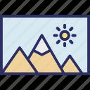 label, landscape, photo, scenery icon