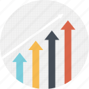 growing graph, growth analysis, growth bar, profit increase, progressive graph icon
