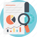 analytical search, business report, data analytics, market trend analysis, statistic analysis icon