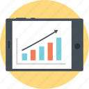 growth bar, mobile analytics, mobile with bar chart, progressive chart, project analysis