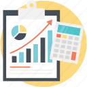 budgeting, finance management, financial report, income growth analysis, productivity monitoring icon