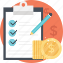 budgeting, business compliance, checklist with coins, finance management, financial plan icon