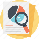 percent analysis, percentage chart, pie chart analysis, project analytics, statistical analysis icon