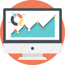 data analysis, financial data, infographic report, statistical report, web growth report icon