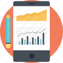 finance graph, marketing analytics, mobile analytics, progress research, statistical data icon