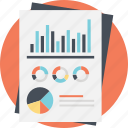 business planning, financial report, pie chart analysis, statistic graphs, statistic report icon