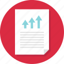 arrow, bars, business, document, page, report, up icon