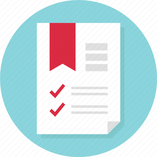 bookmark, business, check, document, marks, page, report icon