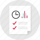 business, check, clock, document, marks, page, report icon
