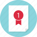 award, data, doc, document, page, report, ribbon icon