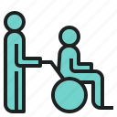 assistance, disability, person, wheelchair icon