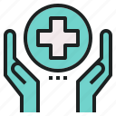 charity, emergency, hand, hospital, medical, rescue icon