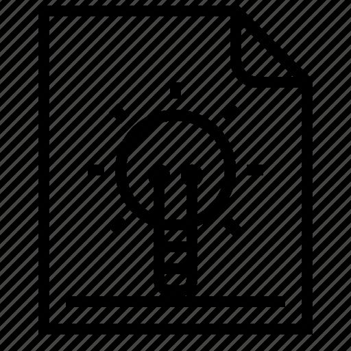 documents, idea, lamp, light, research icon