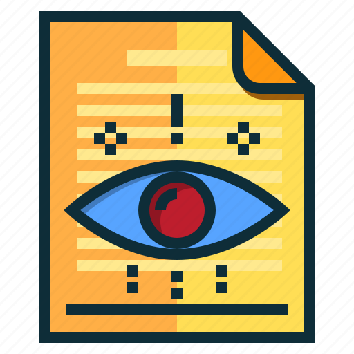 documents, eye, human, idea, people, research icon
