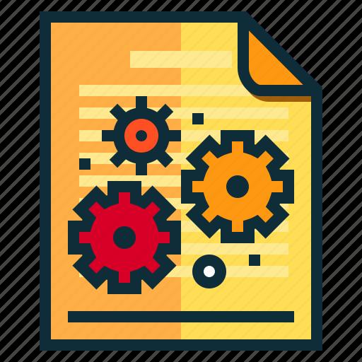 documents, gear, idea, research, setting icon