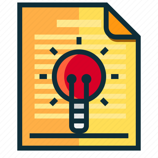 documents, idea, lamp, light, research icon