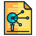 documents, idea, magnifier, research, search icon