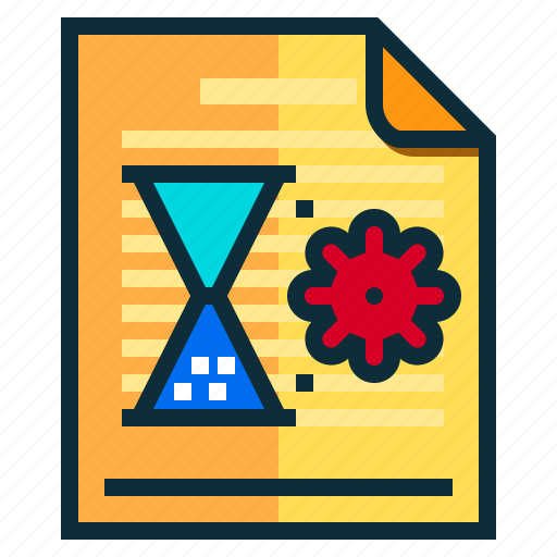 documents, idea, research, time, timer icon