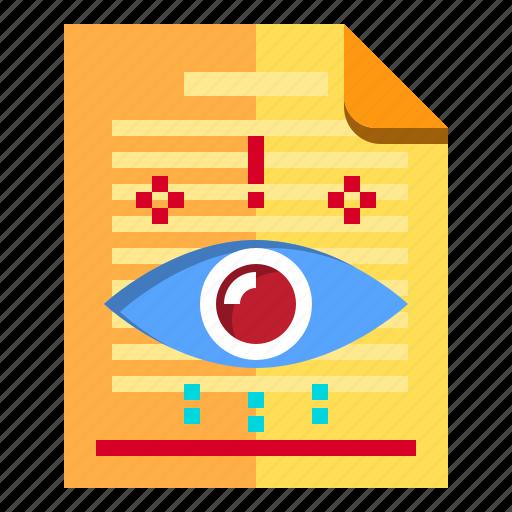 documents, eye, human, idea, research icon