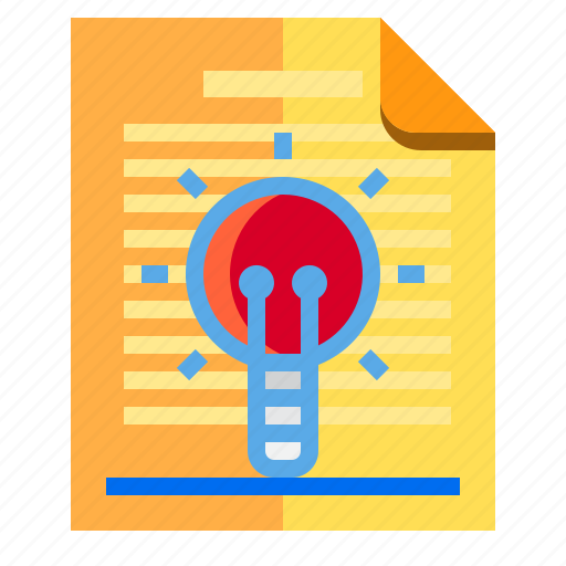 documents, idea, lamp, research icon