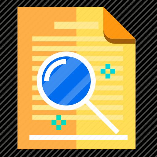 documents, idea, research, search icon