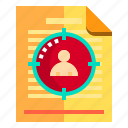documents, idea, research, target icon