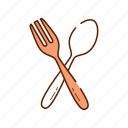 cook, drink, food, fork, restaurant, spoon