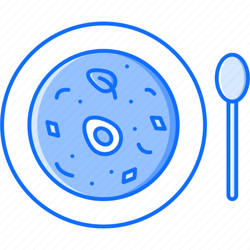 egg, food, plate, restaurant, soup, spoon icon