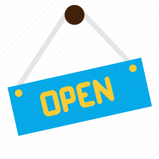 badge, open, shop, sign icon