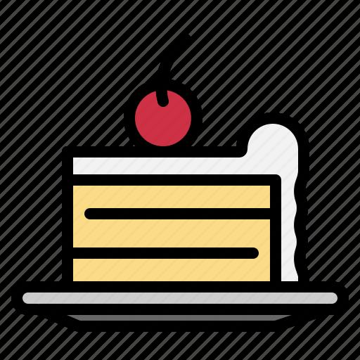 cake, cherry, cream, food, piece icon